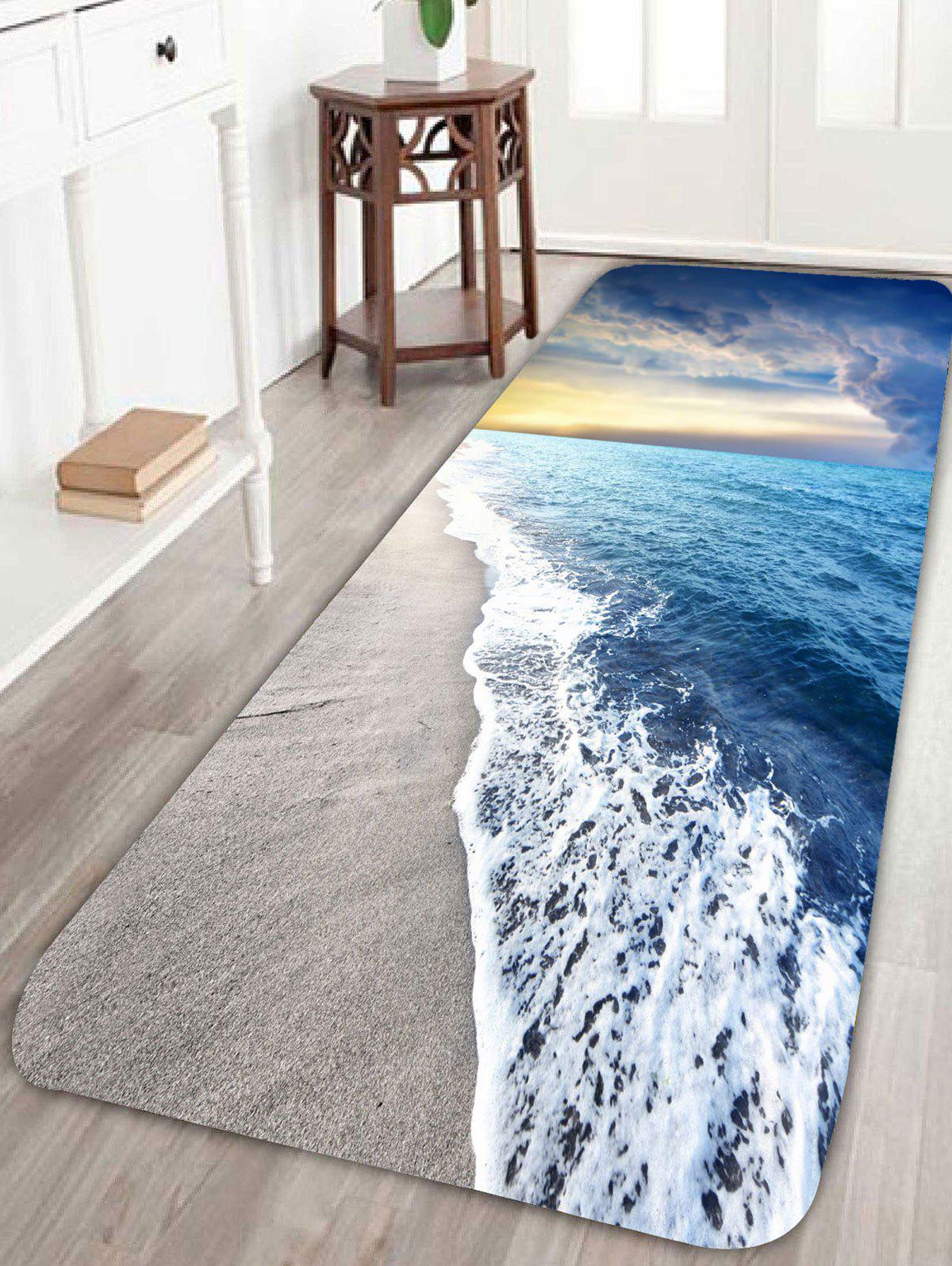 Beach Tide Antiskid Bath RugHOME<br><br>Size: W16 INCH * L47 INCH; Color: LIGHT BLUE; Products Type: Bath rugs; Materials: Coral FLeece; Pattern: Print; Style: Beach Style; Package Contents: 1 x Rug;