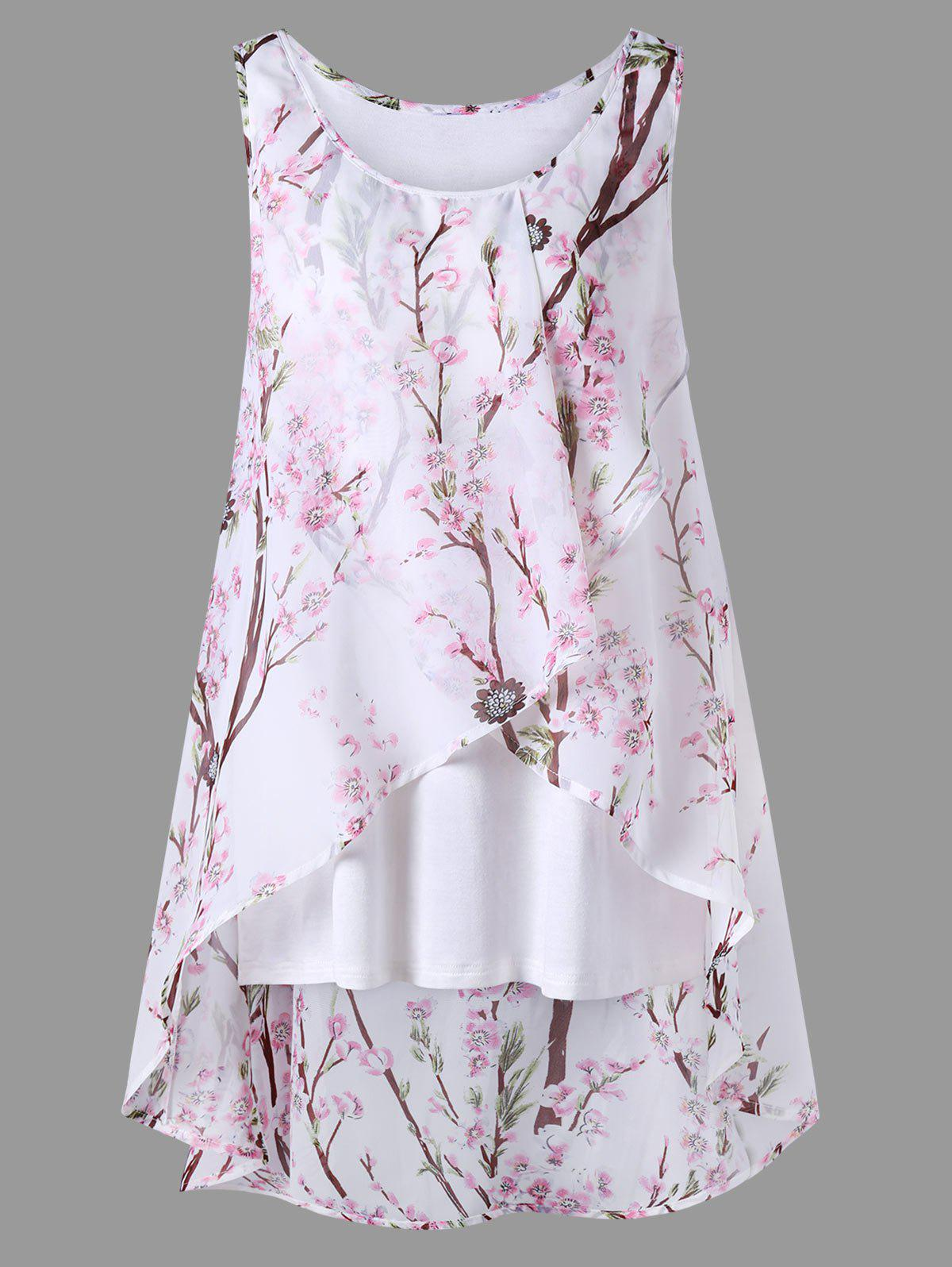 Plus Size Overlap Tiny Floral Sleeveless TopWOMEN<br><br>Size: 5XL; Color: PINK; Material: Polyester; Shirt Length: Long; Sleeve Length: Sleeveless; Collar: Scoop Neck; Style: Casual; Season: Summer; Pattern Type: Floral; Weight: 0.2700kg; Package Contents: 1 x Blouse;