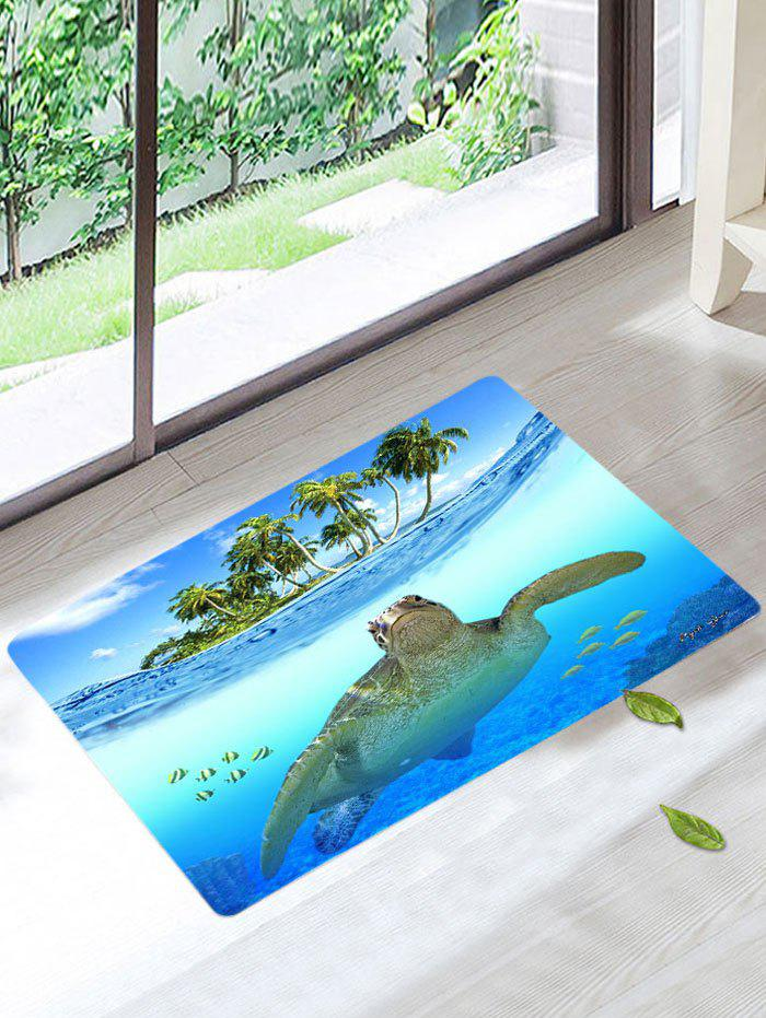 Palm Sea Turtle Skidproof Bath RugHOME<br><br>Size: W16 INCH * L24 INCH; Color: LIGHT BLUE; Products Type: Bath rugs; Materials: Coral FLeece; Pattern: Scenic; Style: Beach Style; Shape: Rectangle; Package Contents: 1 x Rug;