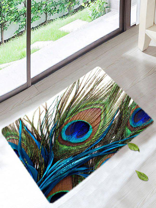 Peacock Feather Antislip Coral Velvet Bath MatHOME<br><br>Size: W16 INCH * L24 INCH; Color: COLORMIX; Products Type: Bath Mats; Materials: Coral FLeece; Pattern: Feather; Style: Fashion; Shape: Rectangle; Package Contents: 1 x Bath Mat;