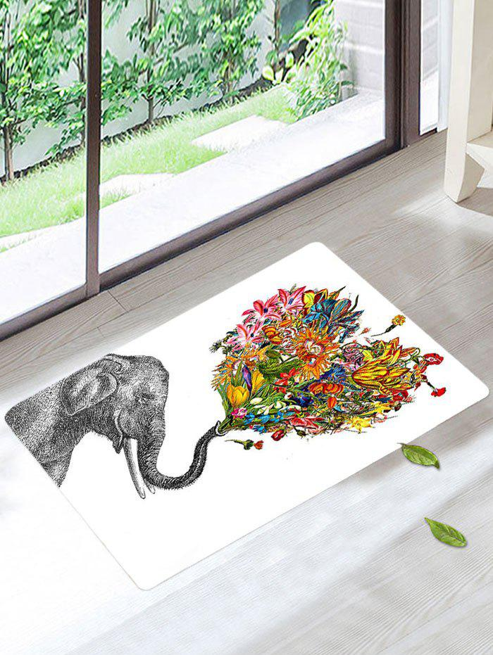 Elephant Floral Floor Soft Absorbent Bath RugHOME<br><br>Size: W16 INCH * L24 INCH; Color: WHITE; Products Type: Bath rugs; Materials: Coral FLeece; Pattern: Animal; Style: Fashion; Shape: Rectangle; Package Contents: 1 x Bath Rug;