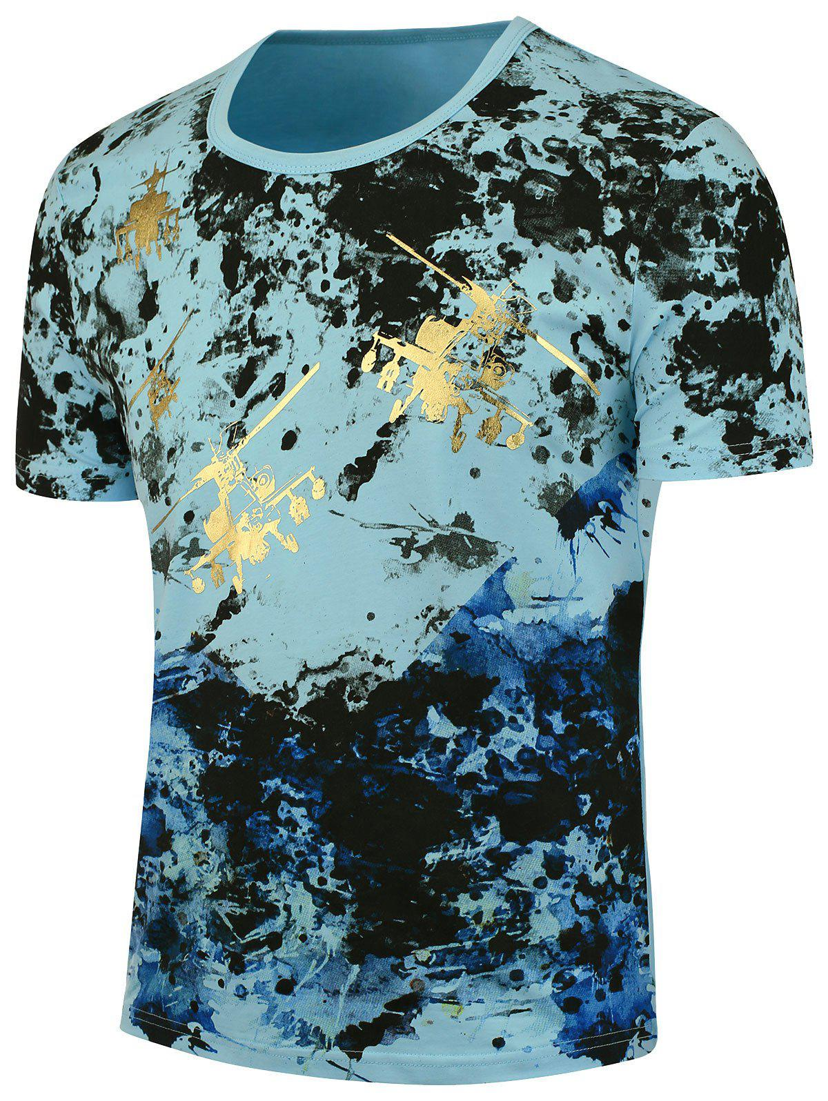 Splashed Paint Short Sleeves TeeMEN<br><br>Size: 4XL; Color: BLUE; Style: Fashion; Material: Cotton,Lycra; Sleeve Length: Short; Collar: Crew Neck; Pattern Type: Print; Weight: 0.2040kg; Package Contents: 1 x T-shirt;