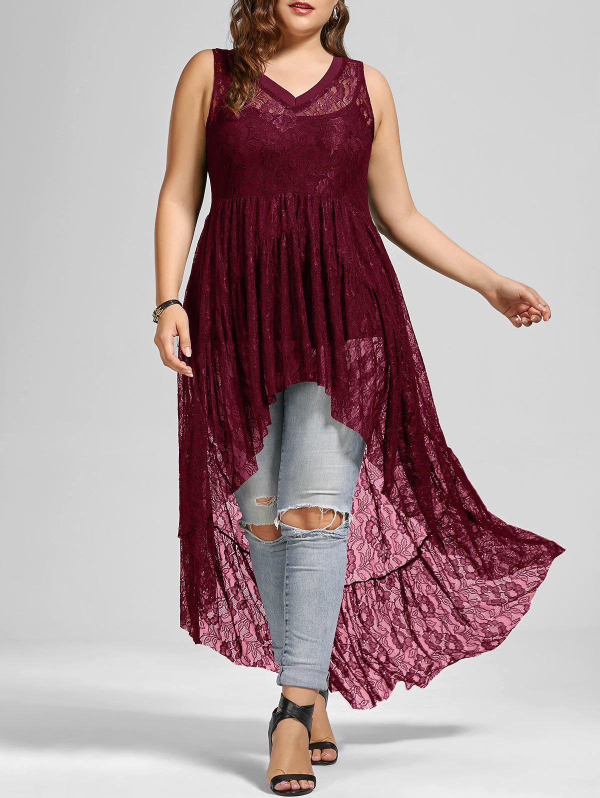 See Through Lace High Low Plus Size TopWOMEN<br><br>Size: 2XL; Color: WINE RED; Material: Polyester; Shirt Length: Long; Sleeve Length: Sleeveless; Collar: V-Neck; Style: Fashion; Season: Summer; Pattern Type: Solid; Weight: 0.3300kg; Package Contents: 1 x Top;