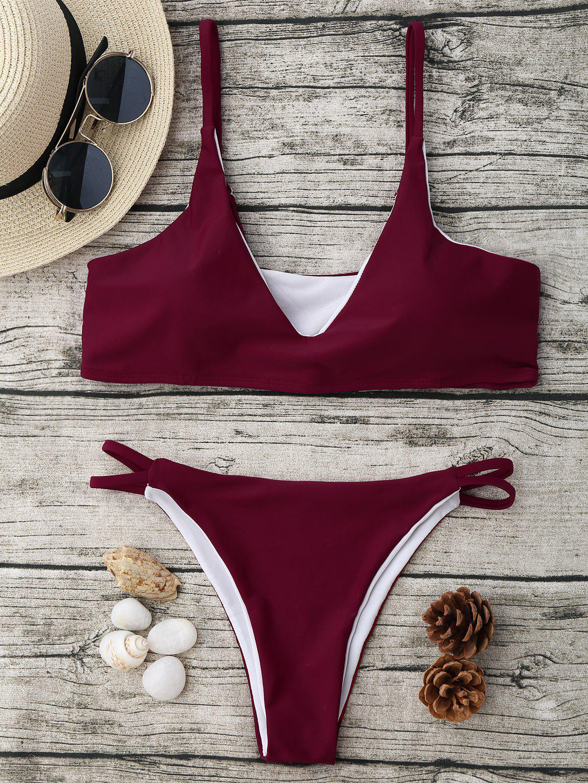 Trendy Spaghetti Strap High Cut Bikini Set