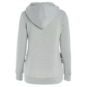 Long Sleeve Pockets Inclined Zipper Pullover Hoodie - GRAY M