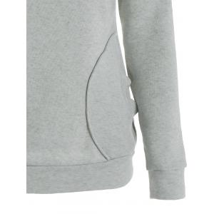 Long Sleeve Pockets Inclined Zipper Pullover Hoodie - GRAY L