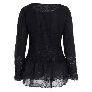 Lace Panel Long Sleeve Casual Top - BLACK M