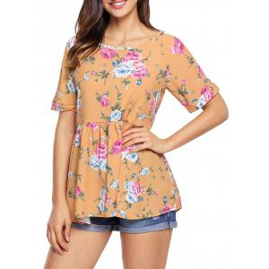 Cuffed Floral Lace-up Babydoll Top