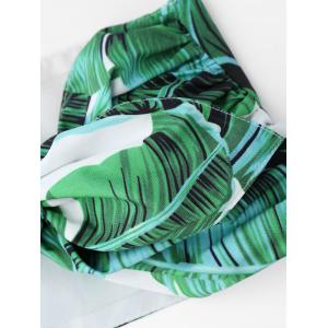 Tied Bandeau Top with Palm Leaf Print Mini Shorts - GREEN S