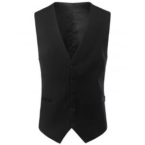 Single Breasted V Neck Belt Design Waistcoat - Black - 4xl