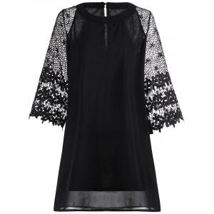 Chiffon Crochet Trim Mini Shift Dress - Black - M