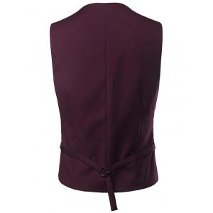 Single Breasted V Neck Belt Design Waistcoat -