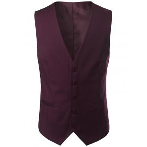 Single Breasted V Neck Belt Design Waistcoat - Wine Red - L
