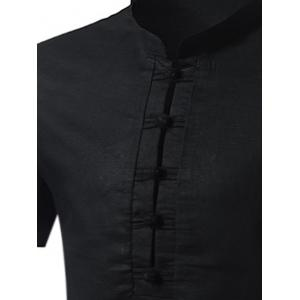 Cotton Linen Stand Collar Chinese Style Shirt - BLACK 4XL