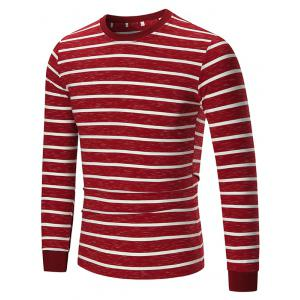 Crew Neck Striped Space Dyed Tee