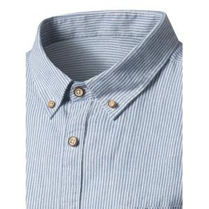 Pocket Button Down Cotton Linen Stripe Shirt - DEEP GRAY 39