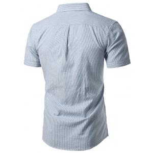 Pocket Button Down Cotton Linen Stripe Shirt - LIGHT BLUE 42