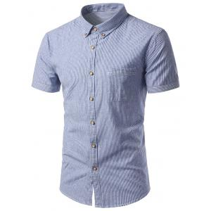 Pocket Button Down Cotton Linen Stripe Shirt