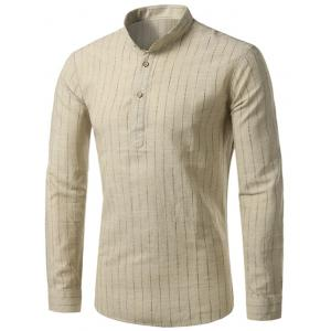 Cotton Linen Long Sleeve Vertical Stripe Shirt - Khaki - 40