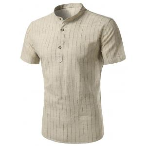 Cotton Linen Stand Collar Vertical Stripe Shirt - Khaki - 43