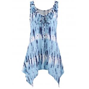 Sleeveless Tie Dye Plus Size Tunic Top - Light Blue - 5xl