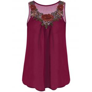 Embroidered Sleeveless Plus Size Chiffon Top - Wine Red - 4xl