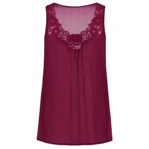 Embroidered Sleeveless Plus Size Chiffon Top -