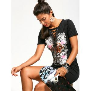 Tiger Floral Print Punk Rock Dress