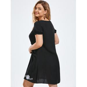Flower Embroidery Tie Front Plus Size Dress - BLACK 3XL