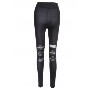 Tight Mesh Panel Leggings - Black - M