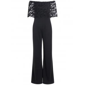 Slimming Off The Shoulder Lace Panel Jumpsuit
