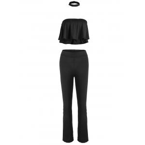 High Waist Pants+Choker Flounce Tube Top