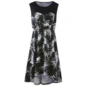 Tropical Leaf Sleeveless Plus Size Dress