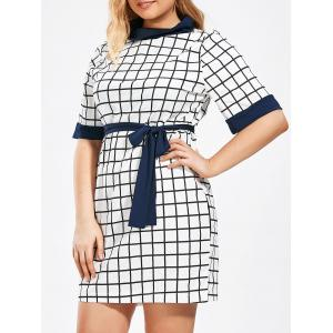 Checked Print Plus Size Pencil Dress with Pockets