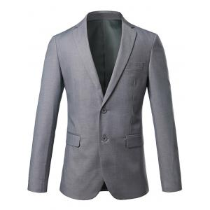 Slim Fit Lapel Single Breasted Casual Blazer - Gray - M