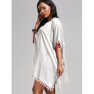 Oversized Batwing Sleeve Swing Tunic Cover Up Dress - WHITE ONE SIZE