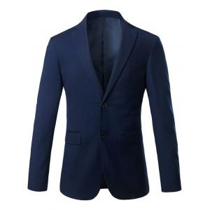 Slim Fit Lapel Single Breasted Casual Blazer - Royal - 4xl