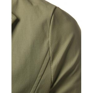 Single Breasted Turndown Collar Longline Coat - ARMY GREEN 5XL