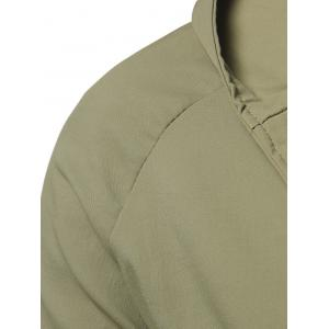 Single Breasted Hooded Longline Coat - ARMY GREEN XL