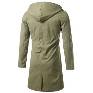 Single Breasted Hooded Longline Coat - ARMY GREEN 4XL