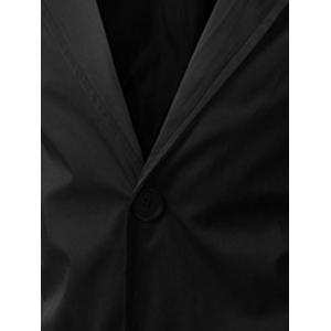 Single Breasted Hooded Longline Coat - BLACK 2XL