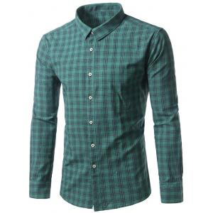 Long Sleeve Turndown Collar Tartan Shirt