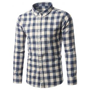 Checked Cotton Button Down Long Sleeve Shirt