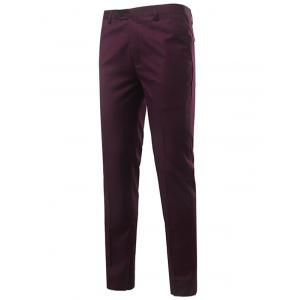 Slim Fit Zipper Fly Straight Leg Chino Pants - Wine Red - 2xl