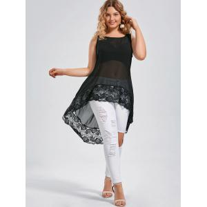 Lace Spliced Extra Long Plus Size Tops - BLACK 2XL