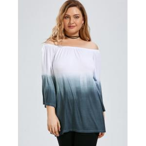 Ombre Plus Size Off The Shoulder Top with Flare Sleeve - GRAY 2XL
