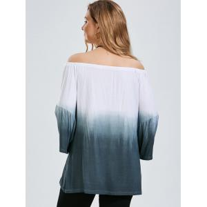 Ombre Plus Size Off The Shoulder Top with Flare Sleeve - GRAY 4XL
