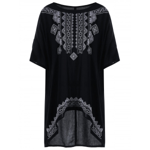 High Low Embroidered Plus Size Top