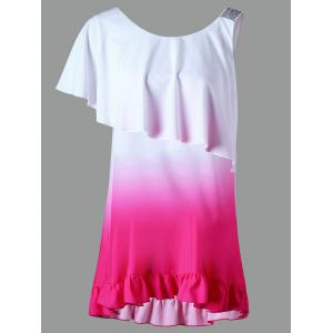 Sequined Ruffle Ombre Color Tunic Top