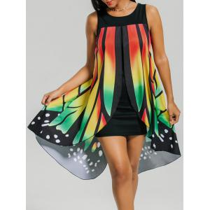 Front Slit Butterfly Shape Flowy Sleeveless Dress